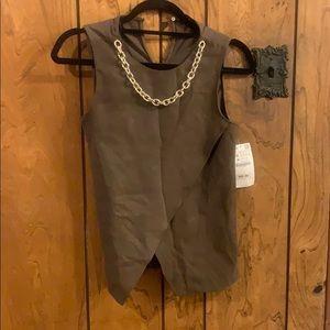 NWT Zara Basic Top w Attached Chain